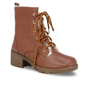 Chase + Chloe Shoes - Women's Lace Up Stacked Heel Cognac Combat Boot